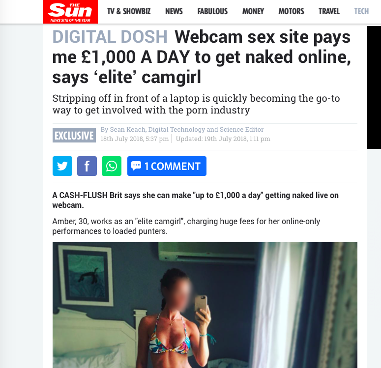 The Sun – Amber Kelly tells The Sun about her experience on cam